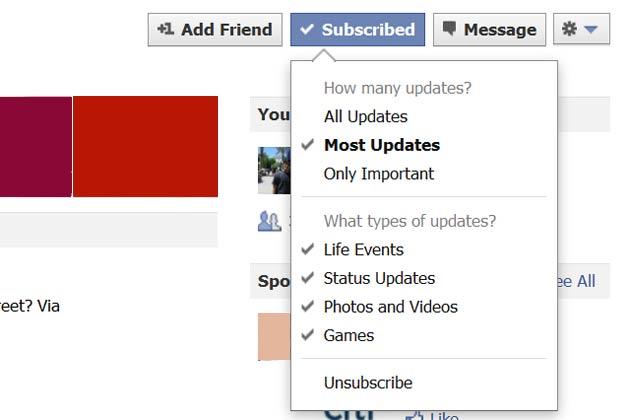el botón de suscripción de Facebook