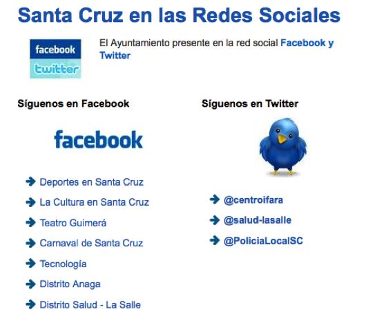 Redes sociales Santa Cruz de Tenerife