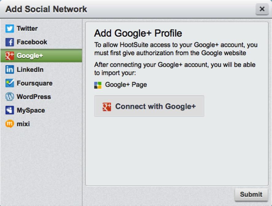 añadir Google+ profile