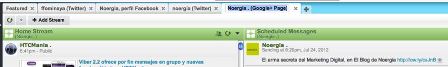 Google+ instalado en Hootsuite