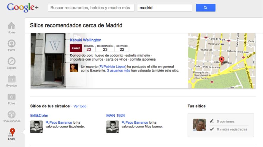Imagen de acceso a Google+ Local desde Google+