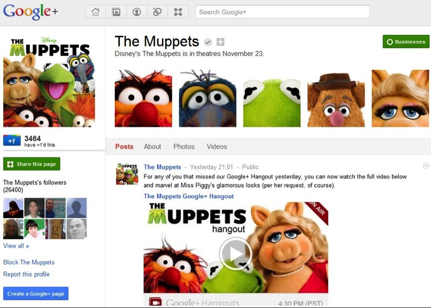 los muppets chatean en Google+