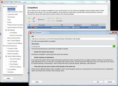Captura de pantalla programa ranktracker