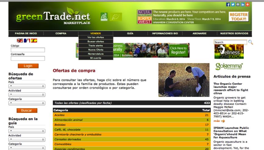 web de promoción en el exterior de productos españoles