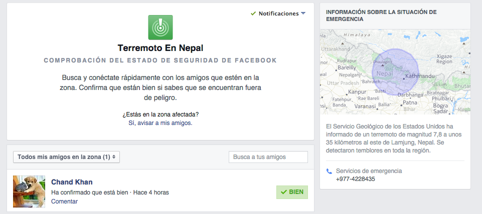 facebook safety check para encontrar accidentados en catástrofe de Nepal