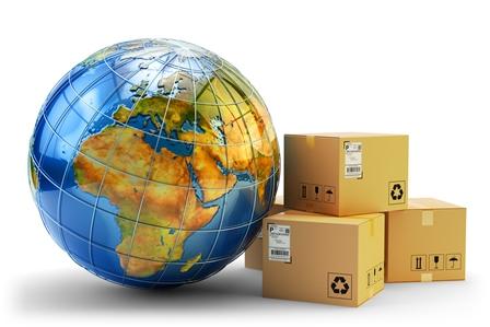 globo terraqueo y paquetes