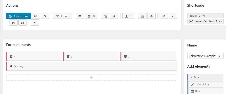 Calculadora WordPress que suma dos números y los divide por un tercero
