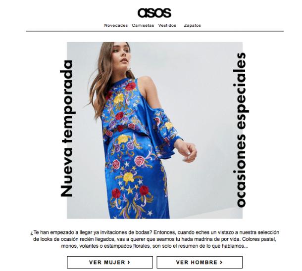asos: ejemplo de email con recomendaciones de productos