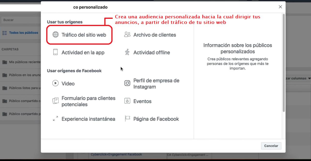 crear audiencia personalizada en Facebook Ads Manager a partir del tráfico del sitio web de tu e-commerce