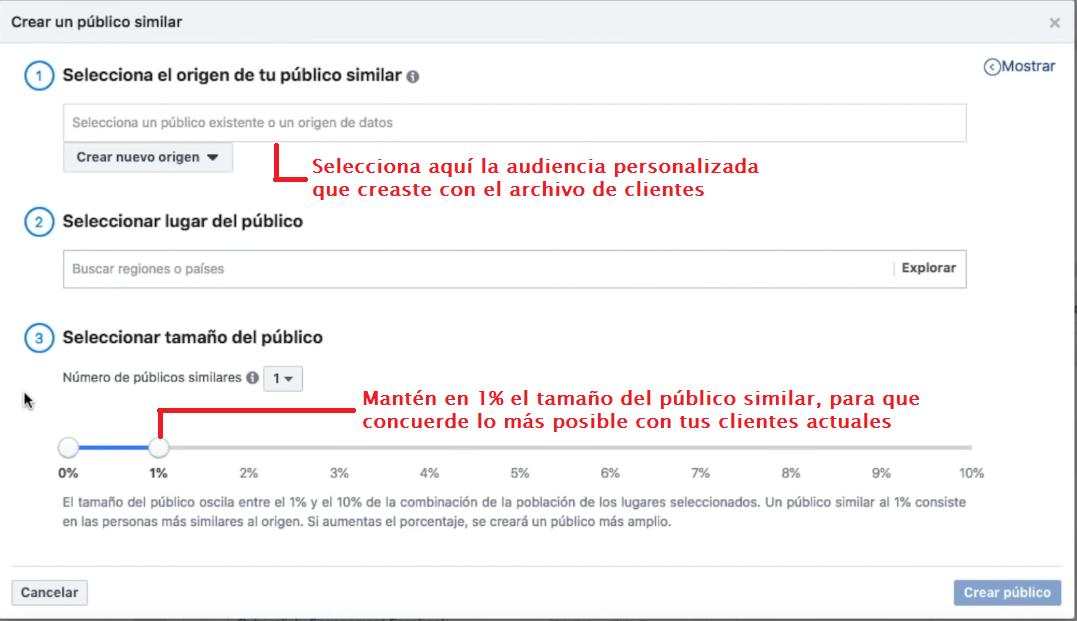 crear audiencia similar a partir del archivo de clientes en Facebook Ads Manager