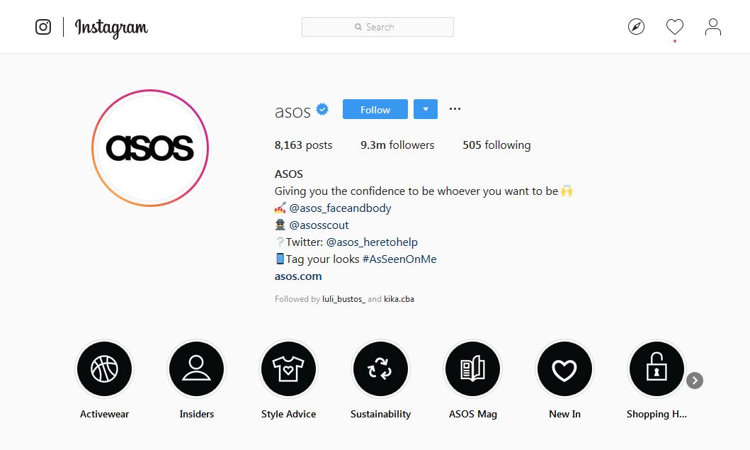 ejemplo de una buena bio para instagram: asos