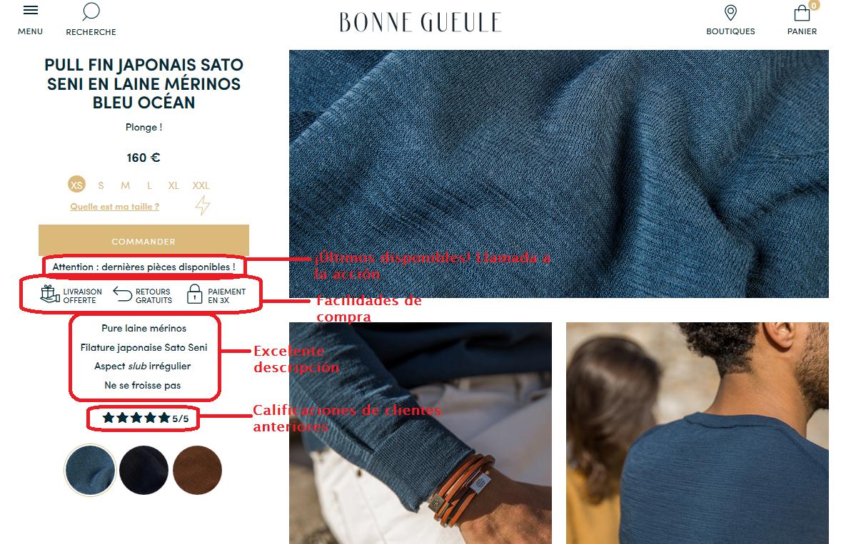 ejemplo de un e-commerce con buena fotografía de productos: bonnegueule