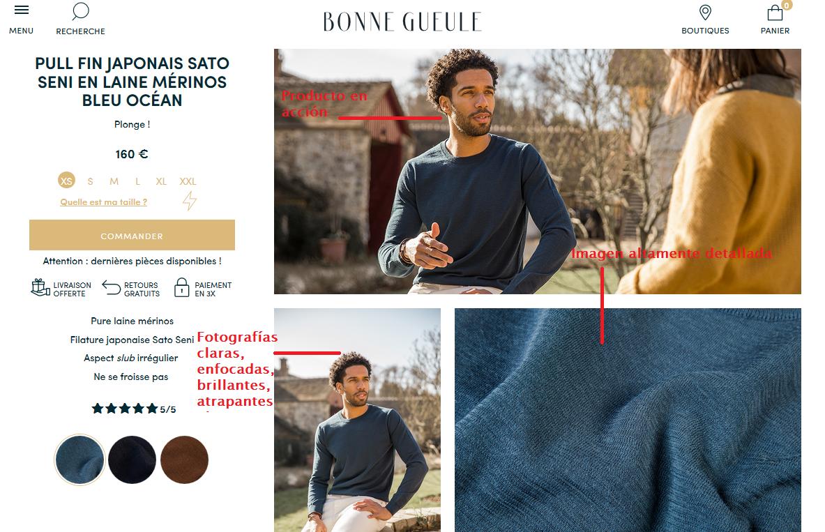 ejemplo de un e-commerce con buena fotografía de productos: bonnegueuleejemplo de un e-commerce con buena fotografía de productos: bonnegueule