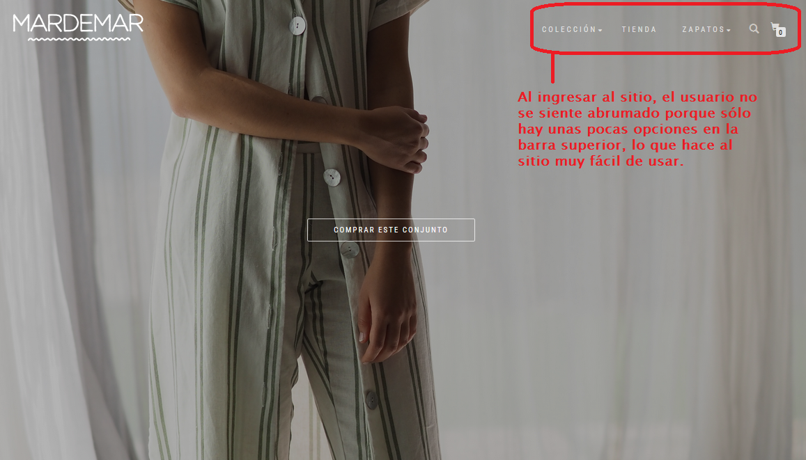 ejemplo de facilidad de navegación en un sitio web: mardemar