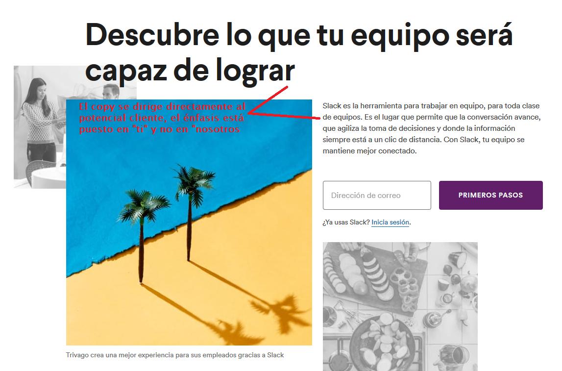 ejemplo de buena landing page enfocada en el usuario: slack. internacionalizar tu e-commerce