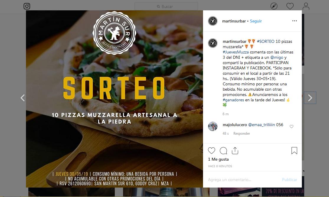 sorteo en instagram para aumentar el conocimiento de marca