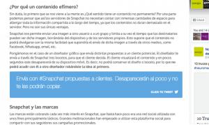 Ejemplo de Click to tweet en el blog de Noergia