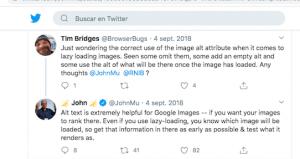 Tweet que explica la importancia de etiqueta ALT